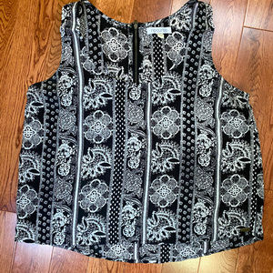 Rip Curl black & white floral sleeveless tank